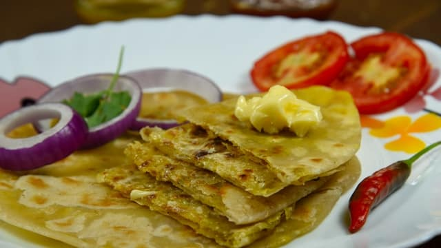 Butter with Aloo Paratha - north indian food